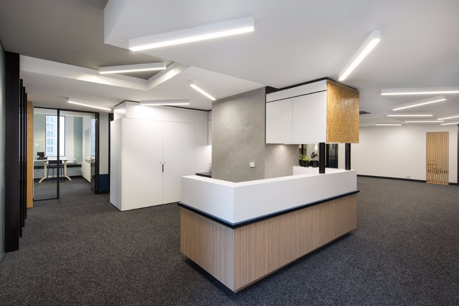 Eureka 19 reception area commercial lighting design