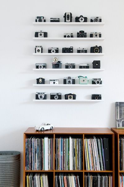 vintage music and cameras home decor